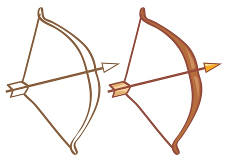bow and arrow: Bow and arrow. Color and contour illustration