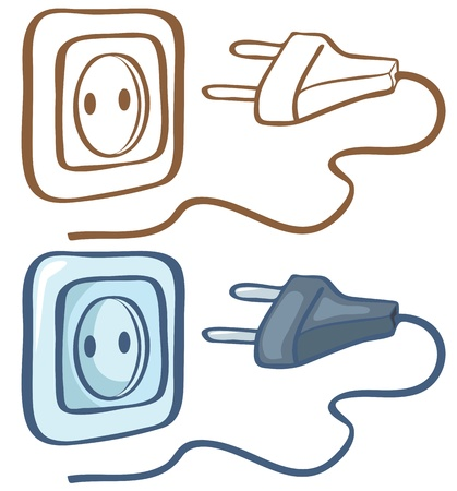 sockets: Electrical plug and socket  Color and contour illustration