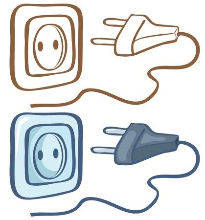 Elektrische stekker en het stopcontact kleur en contour illustratie