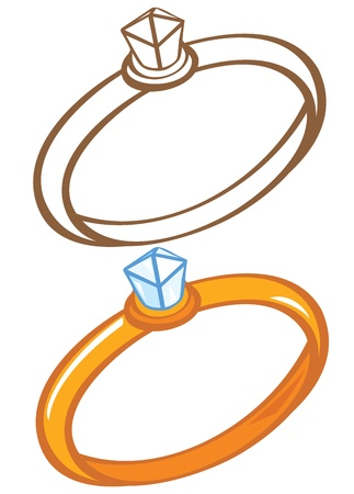 Diamond ring  Color and contour illustration Stock Vector - 15245180