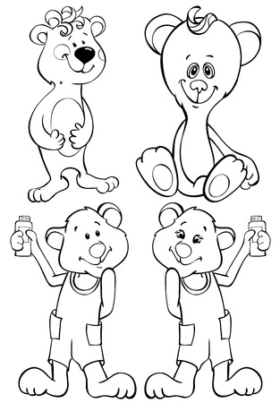 Four funny bears - contour drawing Stock Vector - 15576024