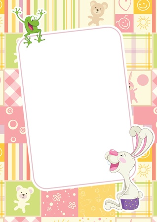 frog illustration: Girl frame with rabbit and frog. Children frame for baby photo album  Illustration