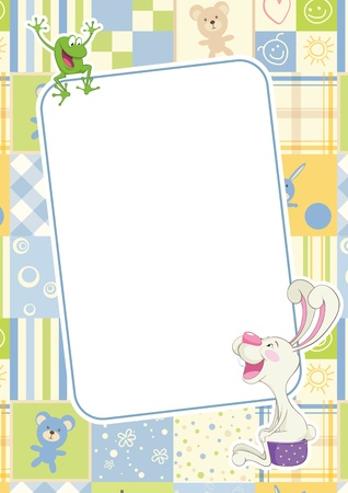 baby rabbit: Boys frame with rabbit and frog. Children frame for baby photo album