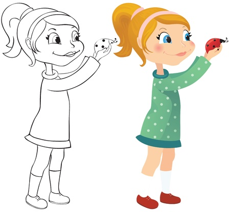 Girl and ladybug - color and outline illustration Stock Vector - 15652758