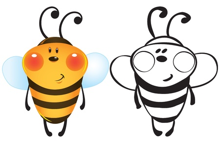 Funny bee - color and outline illustration  Stock Vector - 15900468