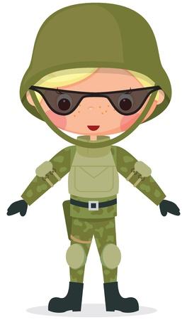 Militaire cartoon jongen Transparantie gebruikt bij het opstellen van de schaduwen en glazen