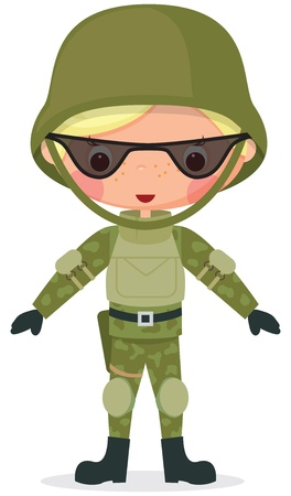 army boots: Military cartoon boy  Transparency used in drawing the shadows and glasses