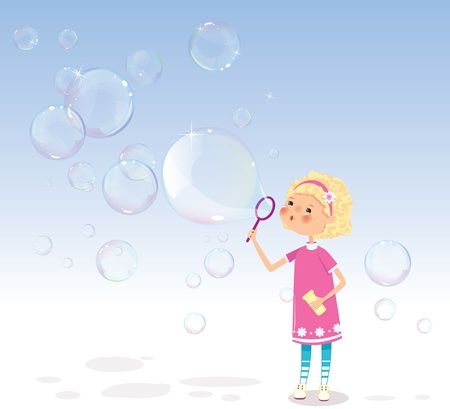 blowing bubbles: Girl with soap bubbles Illustration