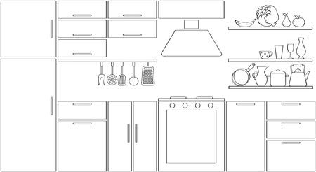 Outline kitchen silhouette