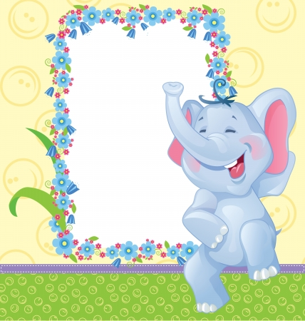 Children frame with elephant for baby photo album Vector