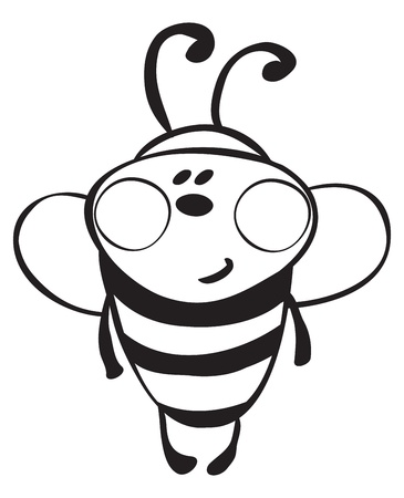 Funny bee - outline illustration  Stock Vector - 16400462