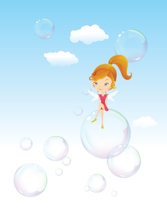 Fairy girl on the bubble Vector