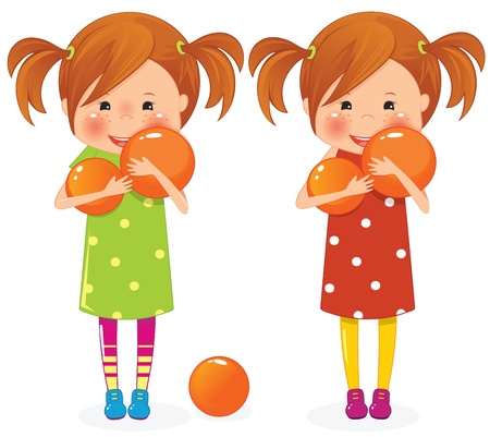 little girl eating: Two girls twins with orange ball Illustration
