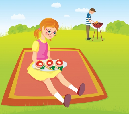 Girl and men on the picnic Vector
