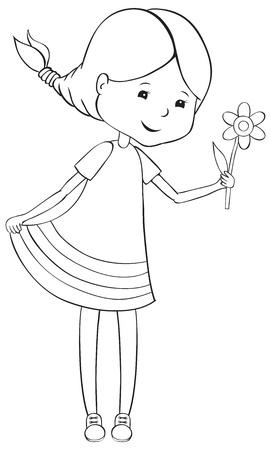 Girl with flower - outline illustration Stock Vector - 16400464