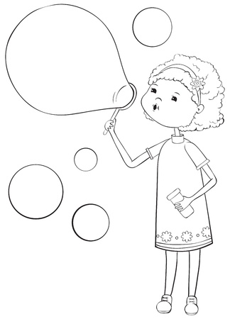 Girl with soap bubbles - outline illustration