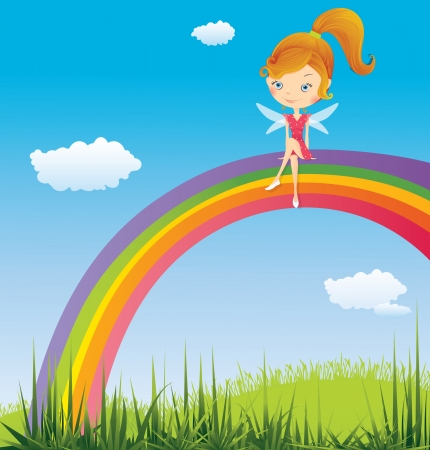 Fairy on a rainbow Stock Vector - 16647953