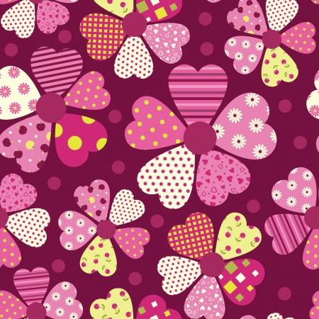 Heart flower pattern - valentine day seamless background