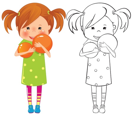 little girl smiling: Girl with ball - color and outline illustration Illustration