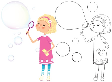 Girl with soap bubbles - color and outline illustration Vector