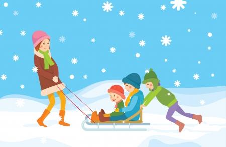 Children sledding  Winter background Stock Vector - 16953443