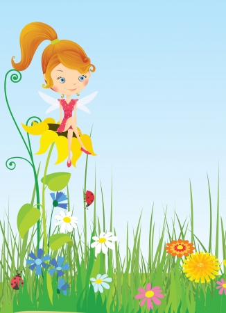 Fairy on meadow Illustration