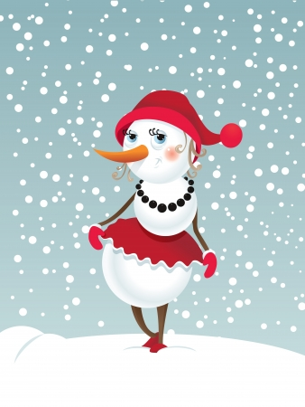 Christmas background with snowman-girl Contains transparent objects used for shadows  Vector