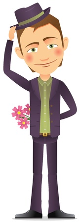 Young man in hat with a  bouquet of flowers Stock Vector - 17312152