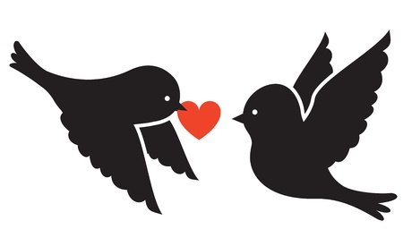 love birds: Two birds and red heart