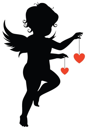valentine cherub: Silhouette of an angel with hearts Illustration