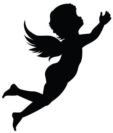 angeles bebe: Silueta de un �ngel Vectores
