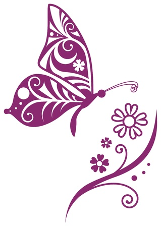 Inwrought butterfly silhouette and flower branch Vector