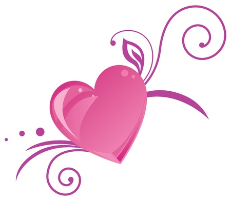 Romantic heart silhouette Ilustração