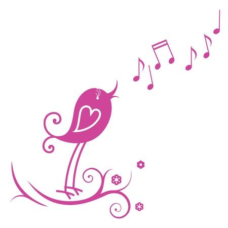 pajaro caricatura: Bird y notas musicales Vectores