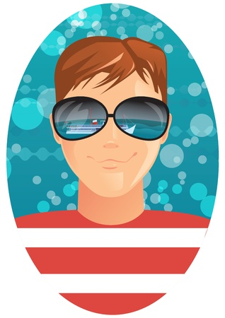sunglasses reflection: A man and reflection in sunglasses Illustration