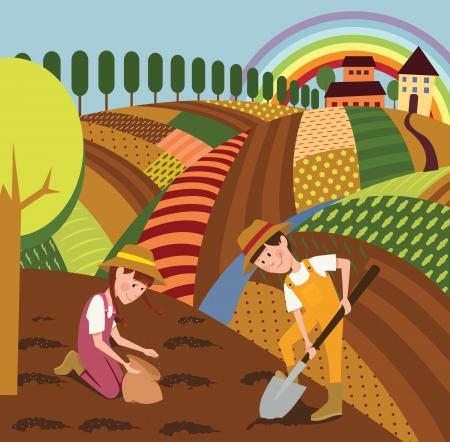 Paysage rural et les agriculteurs Banque d'images - 20495867