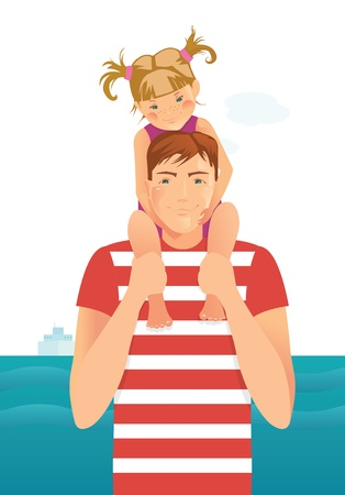 affectionate: Man with little girl