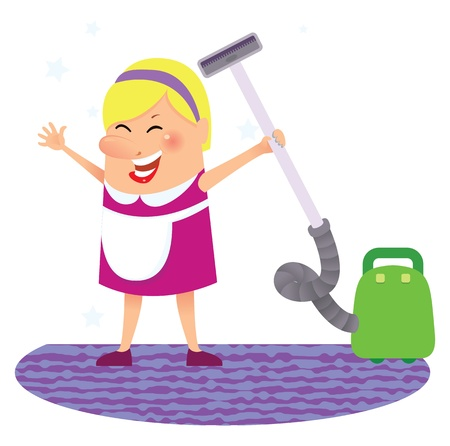 vacuum cleaner worker: Cleaning woman Illustration