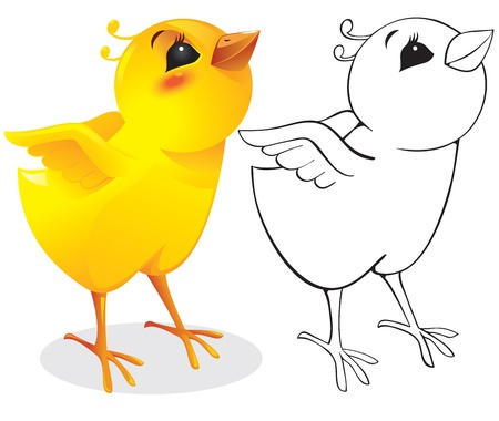 Surprised chicken - color and outline Vector
