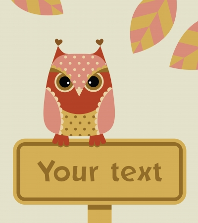 Owl with a sign Vector
