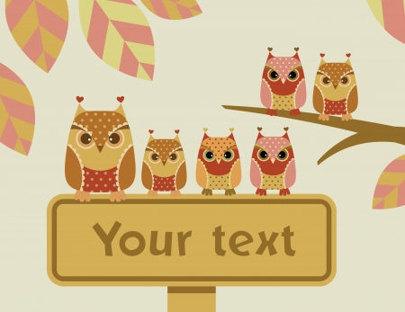 Owls with a sign Vector