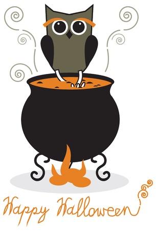Owl and cauldron - halloween card Vector