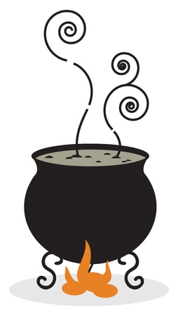 boiling: Silhouette of cauldron and fire