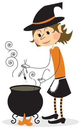 Witch and cauldron - halloween card Vector