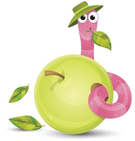 Little worm and apple