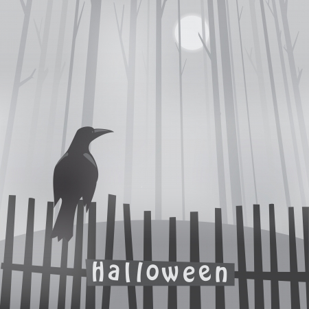 halloween background with raven on fence Vector