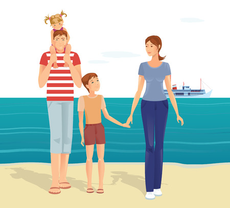 Happy family on the beach Vector