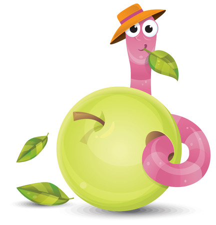 Little worm and apple Stock Vector - 22527524