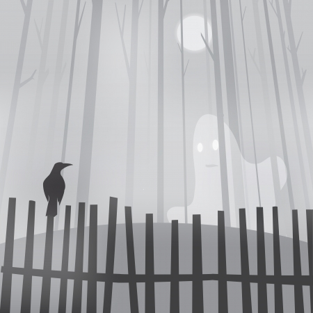 specter: Halloween with ravens on fence and ghost