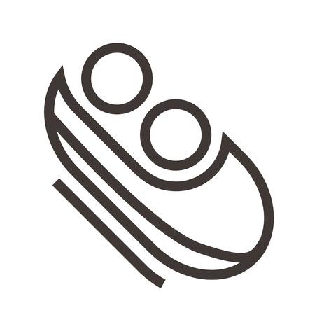 luge: Bobsled icon Illustration